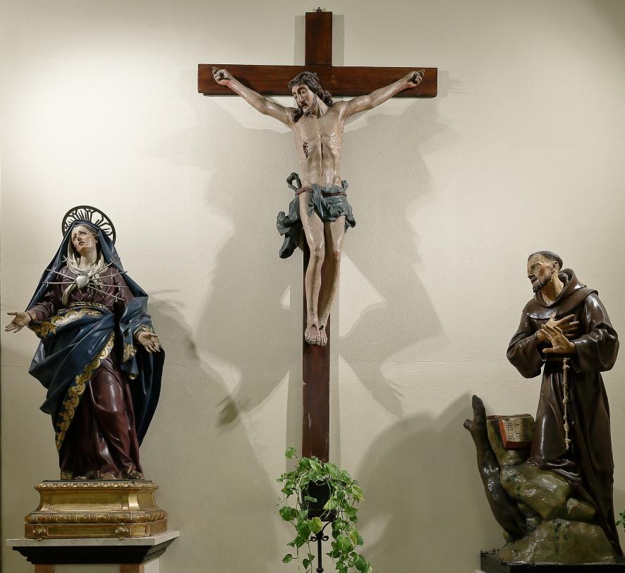 Passione del Signore: Madonna dell'Addolorata, Gesù crocifisso e San Francesco