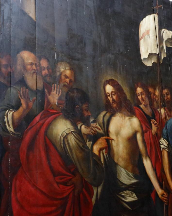 Particolare del quadro di Gesù che appare agli Apostoli e invita San Tommaso a mettere il dito nel costato