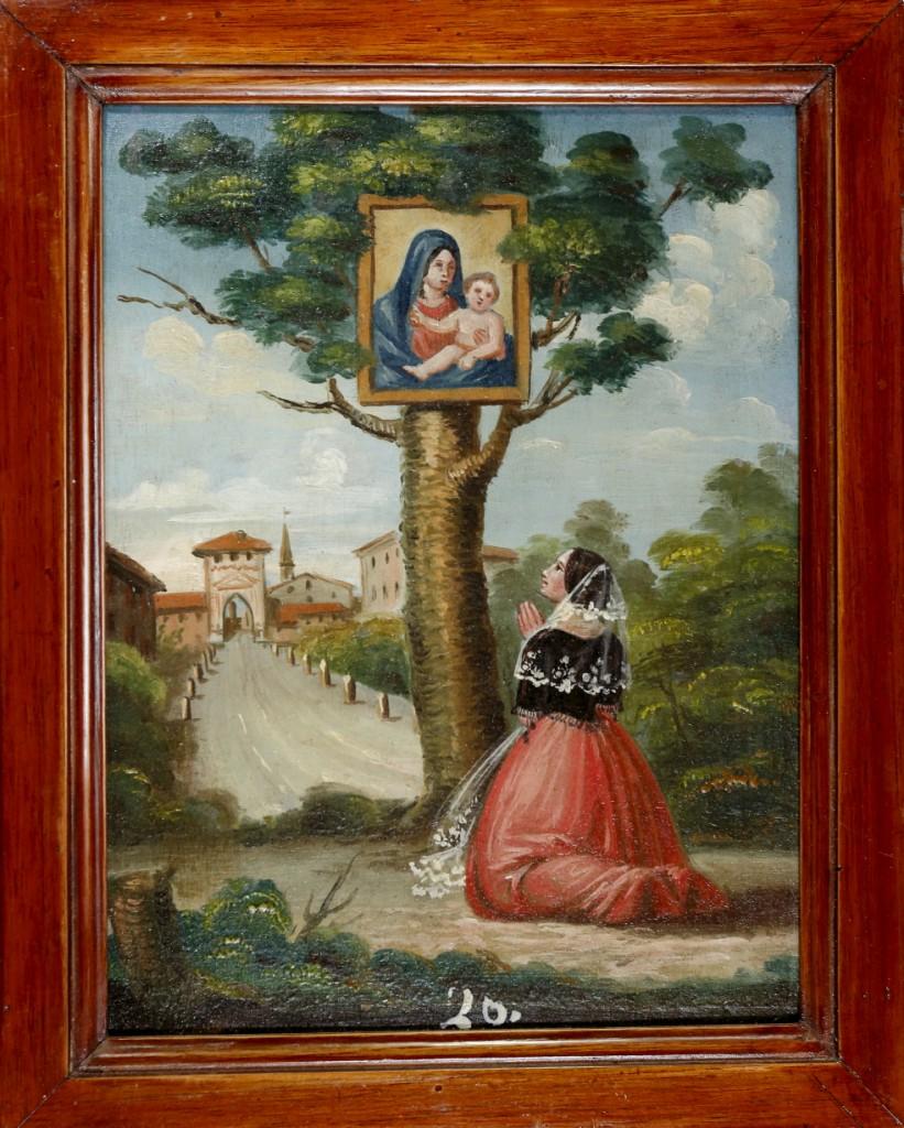 Tavoletta PGR del 1843 con sullo sfondo veduta di Massa Lombarda