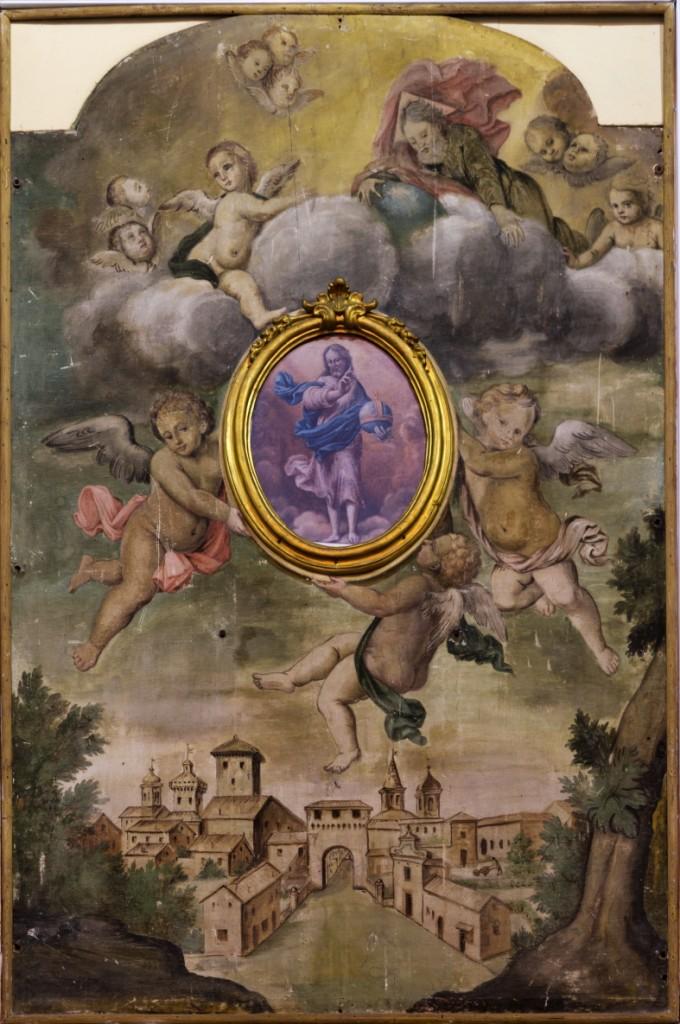 Quadro sull'Altare Maggiore con veduta di Massa antica
