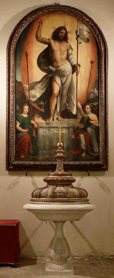 Battistero e quadro del Cristo Risorto