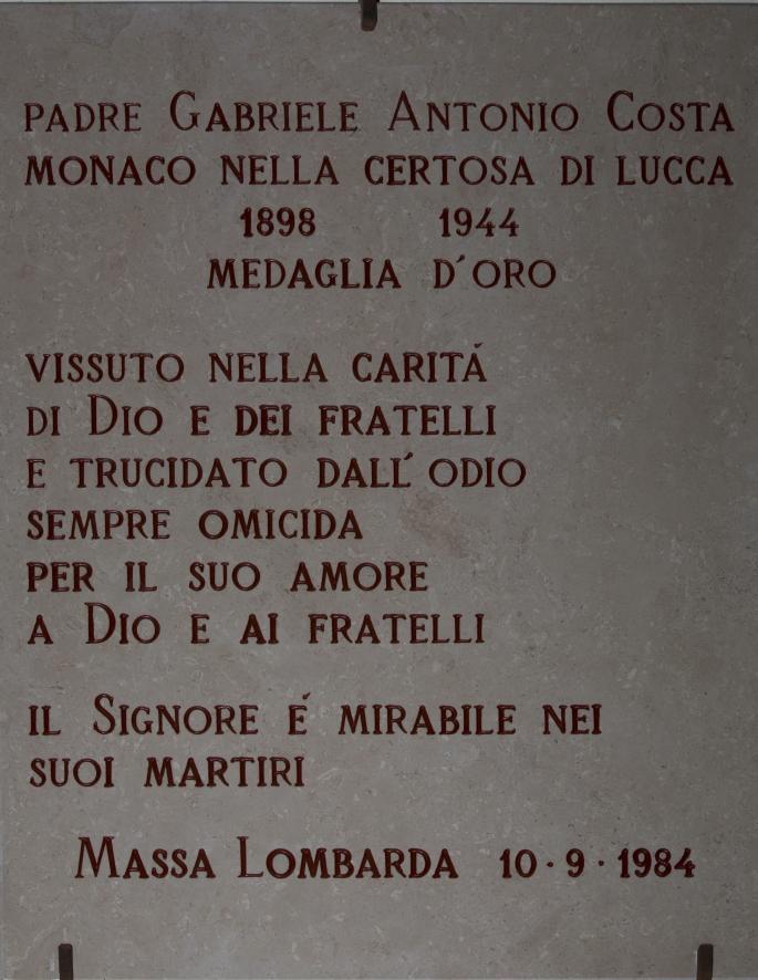 Lapide in ricordo del martirio di Dom Antonio Costa